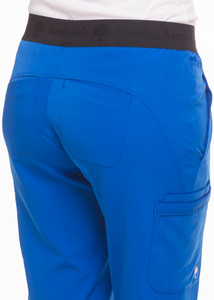 Healing Hands HH Works 9500 Rachel Women's Scrub Pant with 6 pockets including double cargo pockets and double back pockets, elastic waist, straight leg, and four way spandex stretch. Model image back detail.