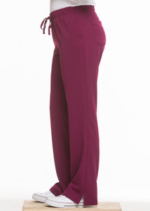 Healing Hands HH Works 9560 Rebecca Women's Scrub Pant featuring Drawstring tie front with elastic back, straight leg with ankle vents, five pockets including two back pockets and a cargo pocket, and four way spandex stretch. Model Image right side.