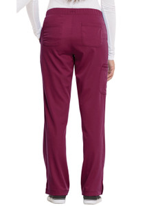Healing Hands HH Works 9560 Rebecca Women's Scrub Pant featuring Drawstring tie front with elastic back, straight leg with ankle vents, five pockets including two back pockets and a cargo pocket, and four way spandex stretch. Model Image back.