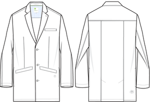 Healing Hands White Coat 5103 The Professional Lyndon Men's Lab Coat with Fluid Protection and Wrinkle Resistance Line Art Image