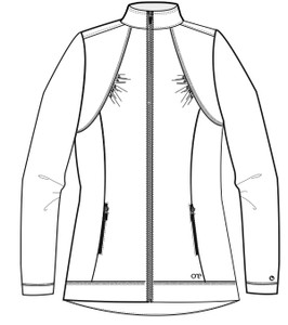 Barco Barco ONE 5405 Women's Lightweight Two Pocket Zip Up Scrub Jacket (5405) Front Sketch