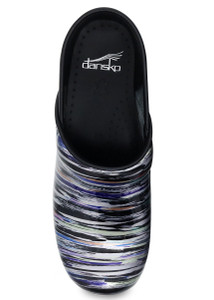 Dansko Professional Striped Patent Leather Nursing Clogs | Top View