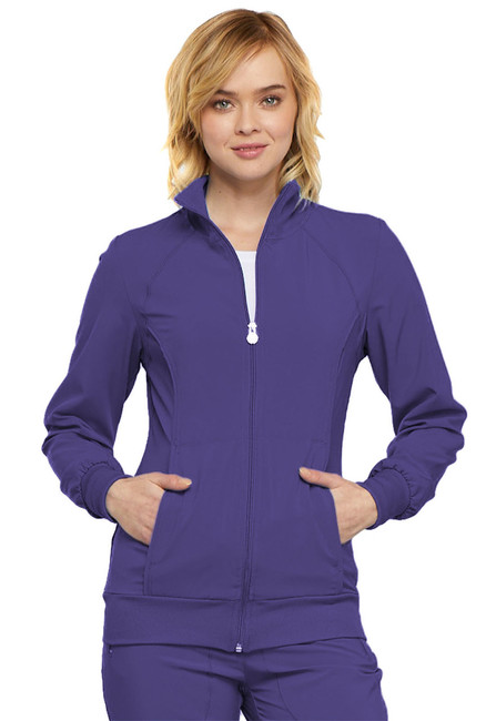 Cherokee Infinity 2391A Women's Antimicrobial Zip Front Warm-Up Scrub Jacket with Knit Panels (2391A)