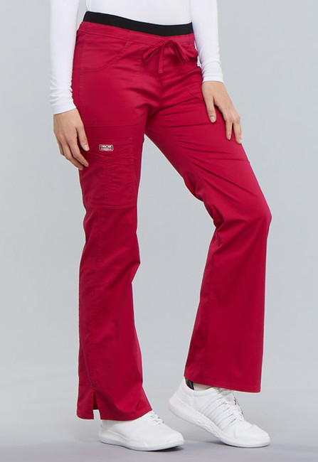 Cherokee Workwear Core Stretch 24001 Women's Low Rise Drawstring Cargo Scrub Pant with a tie front and flare leg with ankle vents (style 24001) left image