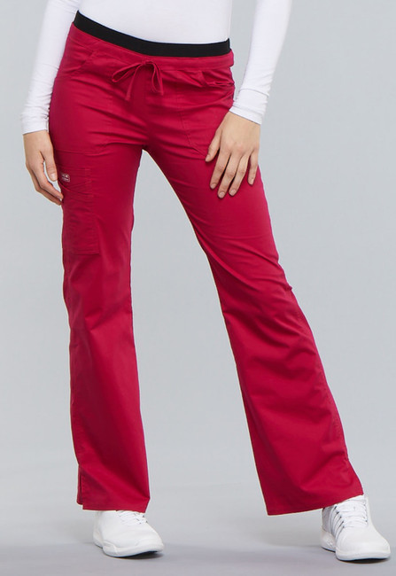 Cherokee Workwear Core Stretch 24001 Women's Low Rise Drawstring Cargo Scrub Pant with a tie front and flare leg with ankle vents (style 24001) front image