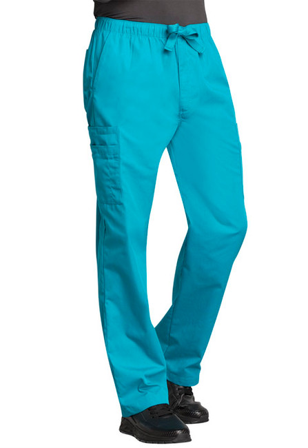 Cherokee Workwear Originals 4000 Men's Drawstring Cargo Scrub Pants with Elastic Waist and Zipper Fly (4000)