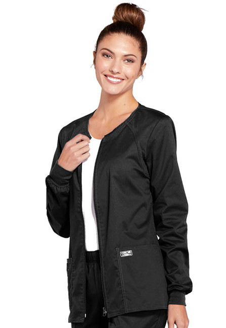 Cherokee Workwear Core Stretch 4315 Women's Zip Front Warm-Up Scrub Jacket with Crew Neck and Knit Cuffs (4315)