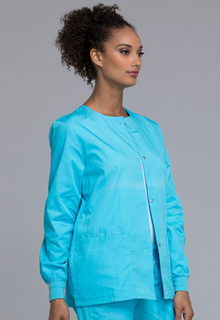 3c9943b3ea5 ... Cherokee Workwear Originals 4350 Women's Snap Front Warm-Up Scrub Jacket  with Crew Neck and ...