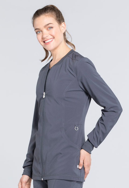 Cherokee Infinity CK370A Women's Athletic Zip Front Warm-Up Scrub Jacket with Round Neckline and Knit Cuffs (CK370A)