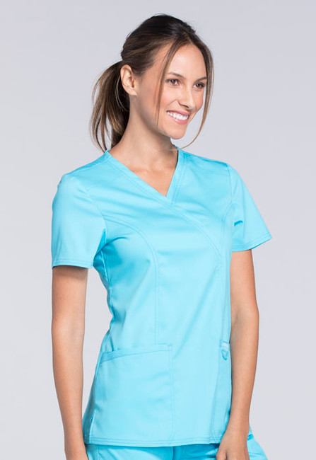 Cherokee Workwear Revolution WW610 Women's Mock Wrap Scrub Top
