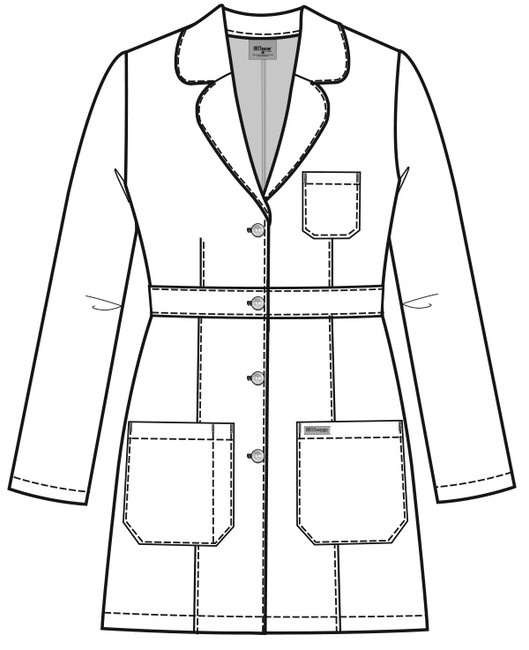 """Grey's Anatomy 4481 Women's Three Pocket 34"""" Banded Labcoat by Barco (4481) Style Sketch Front"""