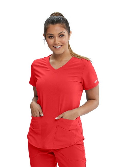 Skechers SK101 Women's Three Pocket Vitality Scrub Top by Barco (SK101) Model Image Front