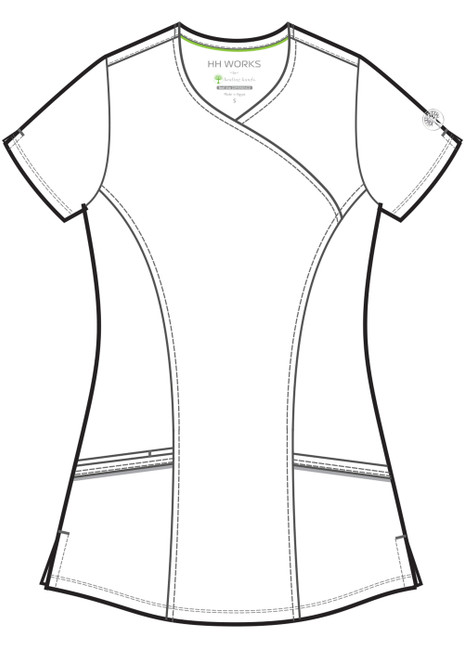 Healing Hands HH Works 2525 Madison Women's Mock Wrap Scrub Top with princess seams and two patch pockets. Line art front.