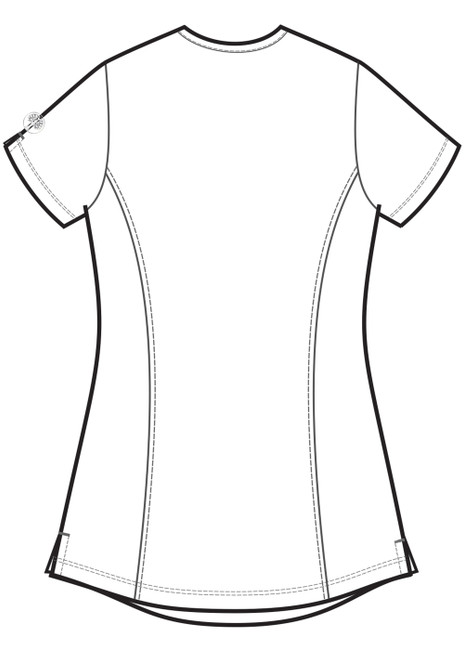 Healing Hands HH Works 2525 Madison Women's Mock Wrap Scrub Top with princess seams and two patch pockets. Line art back.