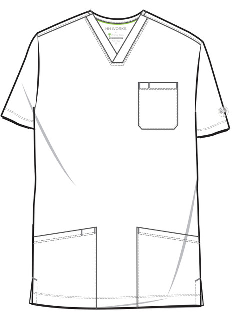 Healing Hands HH Works 2590 Matthew Men's Scrub Top with three pockets, locker loop, and side seam vent. Line art image front.