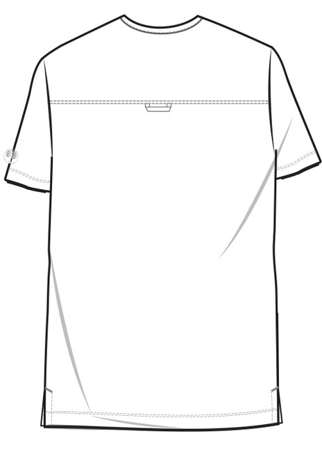 Healing Hands HH Works 2590 Matthew Men's Scrub Top with three pockets, locker loop, and side seam vent. Line art image back.