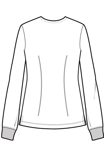 Healing Hands HH Works 5500 Megan Scrub Jacket with round neck, snap front, and knit cuffs. Line Art Image.