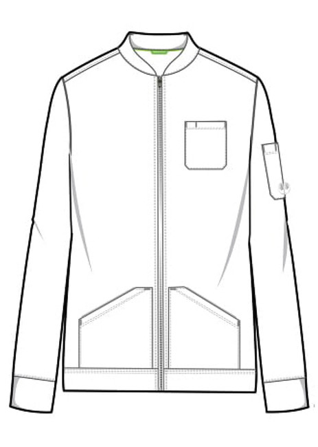 Healing Hands HH Works 5590 Michael Scrub Jacket with full zip and four pockets. Line art image front.