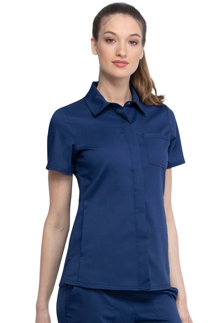 Cherokee Workwear Revolution WW669 Women's Chic Snap Front Collared Scrub Top, Side