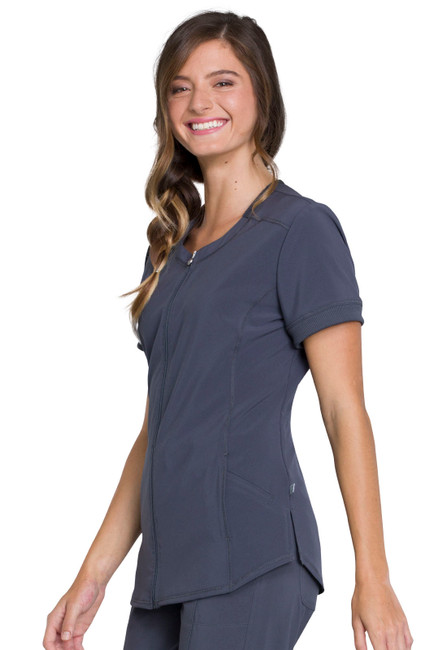 Cherokee Infinity CK810A Antimicrobial Women's Zip Front Scrub Top With 2 Pockets, Princess Seams, Left