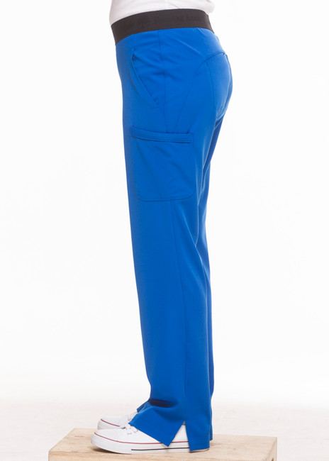 Healing Hands HH Works 9500 Rachel Women's Scrub Pant with 6 pockets including double cargo pockets and double back pockets, elastic waist, straight leg, and four way spandex stretch. Model image right side.