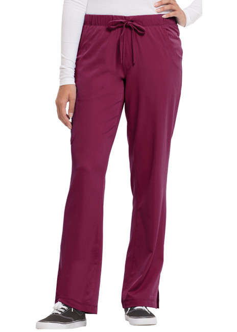 Healing Hands HH Works 9560 Rebecca Women's Scrub Pant featuring Drawstring tie front with elastic back, straight leg with ankle vents, five pockets including two back pockets and a cargo pocket, and four way spandex stretch. Model Image front.