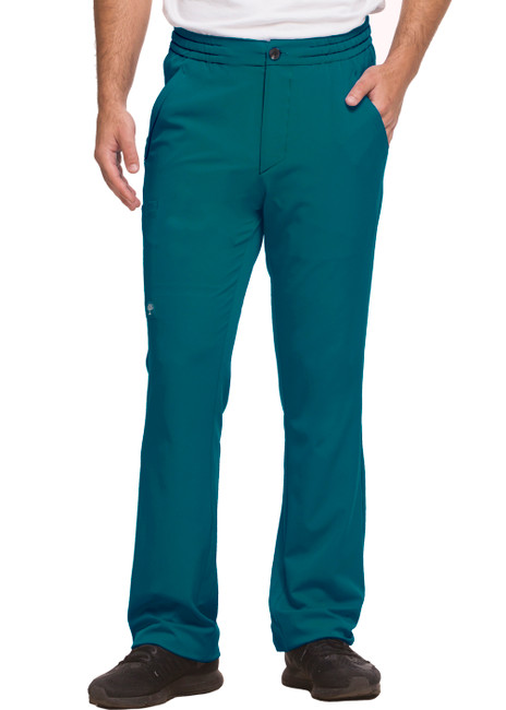 Healing Hands HH Works 9590 Ryan Men's Scrub Pant featuring drawstring tie front waist with elastic back, button and zip fly, five pockets including two back pockets and a cargo pocket, straight leg, and four way spandex stretch. Model Image front.
