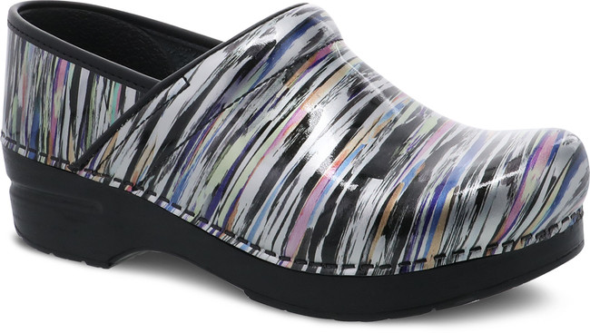 Dansko Professional Striped Patent Leather Nursing Clogs | Front View