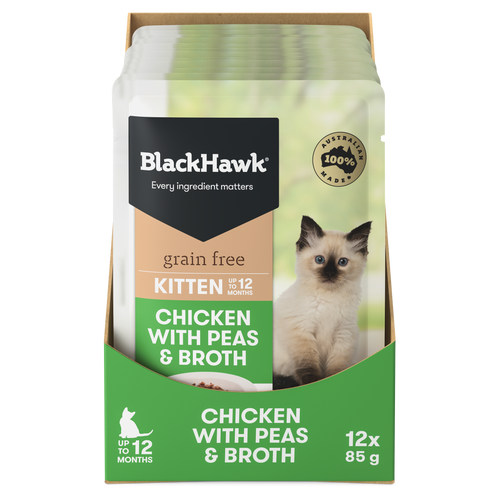 Black Hawk Kitten Chicken with Peas & Broth Wet Cat Food