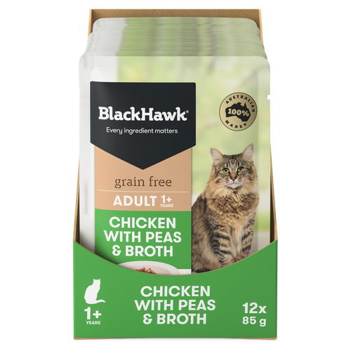 Black Hawk Chicken with Peas & Broth Wet Cat Food