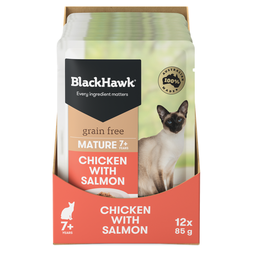 Black Hawk Mature Chicken with Salmon Wet Cat Food