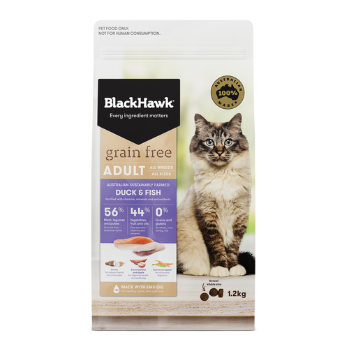Black Hawk Grain Free Duck & Fish Dry Cat Food