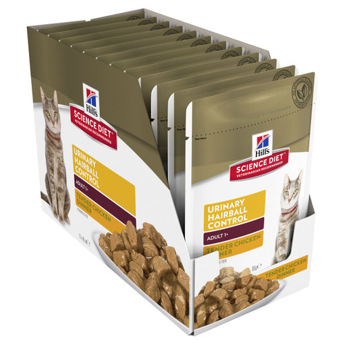 Hill's Science Diet Adult Urinary Hairball Control Chicken Pouches Wet Cat Food