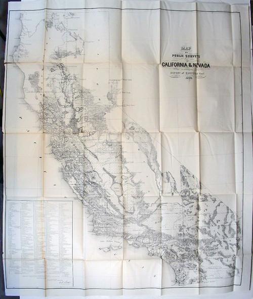 Rare California Map: U.S. General Land Office: Map of Public Surveys in California & Nevada to Accompany Report of Surveyor Genl., 1863.