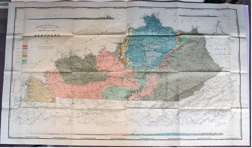 Rare Kentucky Map: Hoeing, J.B. Preliminary Map of Kentucky by J. B. Hoeing. C.E. 1890