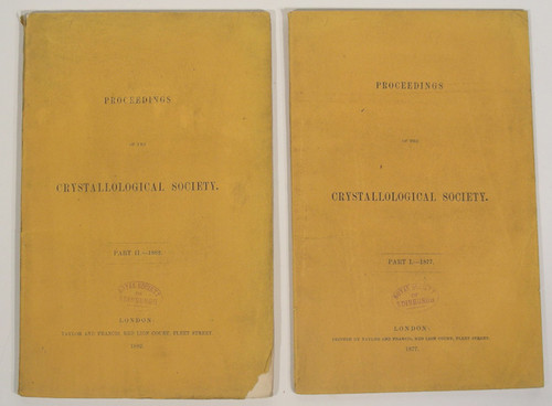 Rare Mineralogy Book: Proceedings Of The Crystallological Society. Parts I. and II. (All Published) 1877-1882.