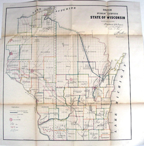 Rare Wisconsin Map: General Land Office: Sketch of the Public Surveys in the State of Wisconsin. Department of the Interior, General Land Office, October 2nd 1866.