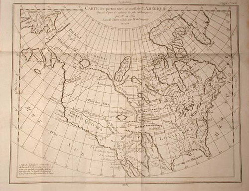 Rare map of North America by Vaugondy, Robert de; Carte des parties nord et oueft de L'Amerique. Nouvelle edition, Diderot's Encyclopaedia 1772.
