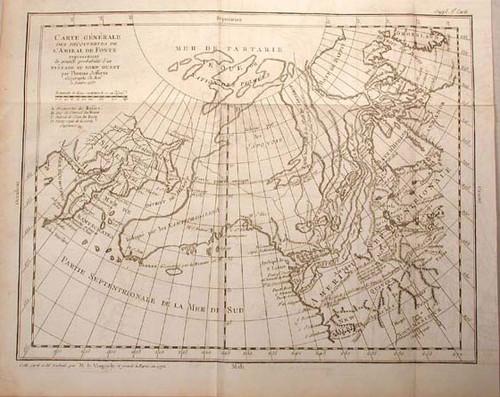 Rare map by Vaugondy, Robert de; Carte Generale des Decouvertes de L' Amiral de Fonte representant la Grande Probabilite d'un Passage au Nord Ouest par Thomas Jeffreys