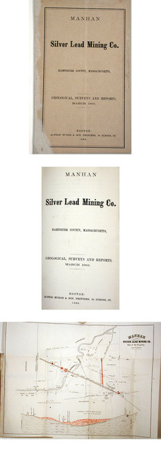 Rare mining book by Jackson, Charles T.; Manhan Silver Lead Mining Co., Hampshire County, Massachusetts, Boston, 1863.