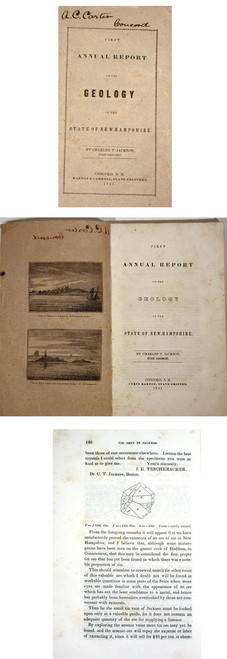 Rare Geology Report by Jackson, Charles T.; First Annual Report on the Geology of the State of New Hampshire. Concord, 1841.