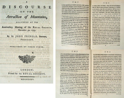 Rare Geology Book, Sir John Pringle; A Discourse on the Attraction of Mountains