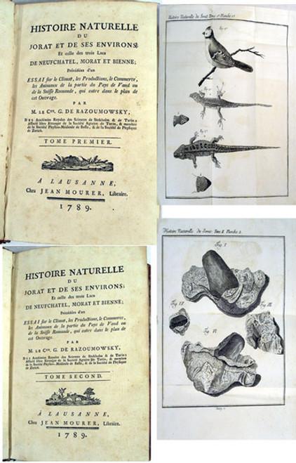Rare paleontology book by Razumovsky, Count Grigory Kirillovich; Histoire Naturelle Du Jorat Et De Ses Environs...1789.