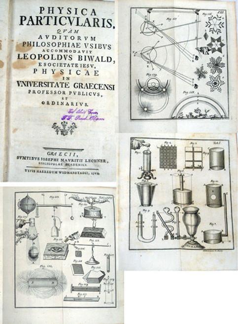 Rare science book, Biwald, Gottlieb Leopold; Physica Particularis, Graz, 1768.