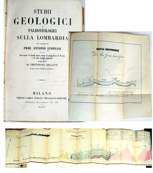 Rare geoscience book, Stoppani, Antonio; Studi Geologici Paleontologici Sula Lombardia. Milano, Presso Carlo Turati, 1857.