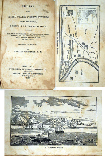 Rare travel book, Warriner, Francis; Cruise of the United States Frigate Potomac. 1835.