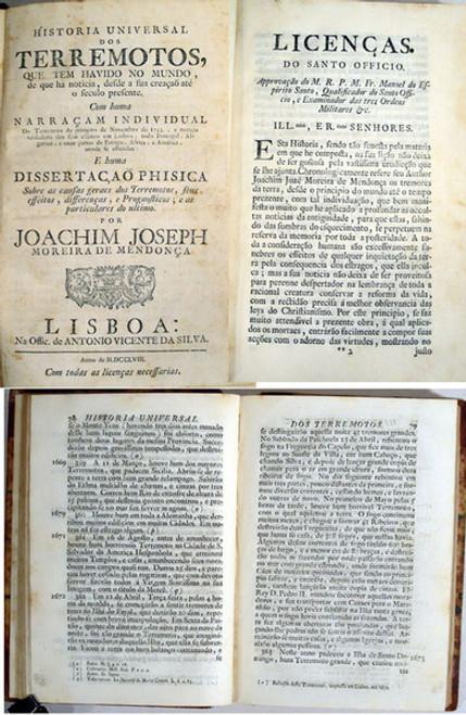 Rare Geology book: Moreira de Mendonça, Joachim Joseph; Historia universal dos terremotos que tem havido no mundo...1758.