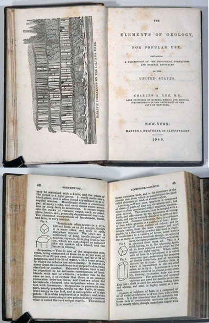 Rare Geology Book: Lee, Charles A.; The Elements of Geology for Popular Use...1840