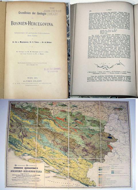 Rare Geology Book: Mojsisovics von Mojsvar, J. A. G. Edmund, et.al.; Grundlinien der Geologie von Bosnien-Hercegovinia. 1880.