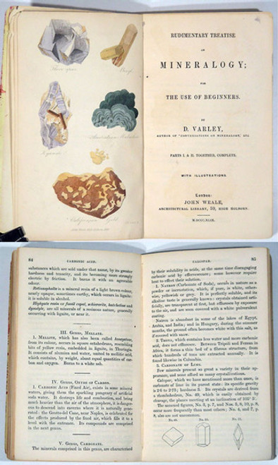 Rare Mineralogy Books: Varley, Devalle; Rudimentary Treatise on Mineralogy; for the use of Beginners, 1849.
